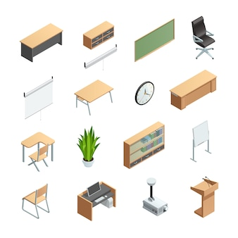 Isometric icons set of different classroom interior elements like furnitures equipments