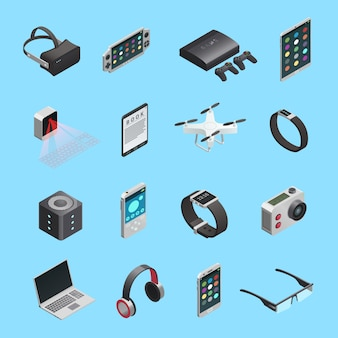 Isometric icons set of different electronic gadgets for communication playing music photo and other