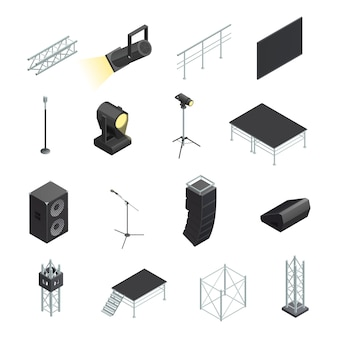 Isometric icons set of stage elements different stands with microphones spotlights speakers