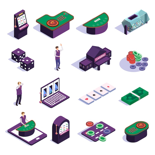 Isometric icons set with casino slot machines croupier and tools for gambling games isolated