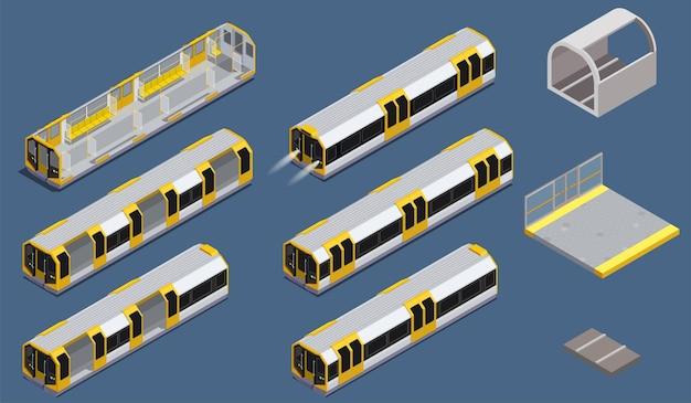 Изометрические иконки с цветными элементами метро, изолированными на синем фоне