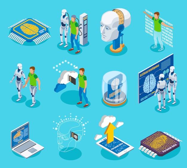 Изометрические иконки с изолированными изображениями электронных частей пиктограмм киборга и человеческих персонажей