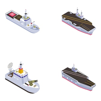 Isometric icons of ships and cruises