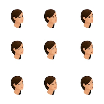 Isometric icons of woman emotions,  head hair, faces, eyes, lips, nose. facial expression. qualitative isometry of people for  illustrations