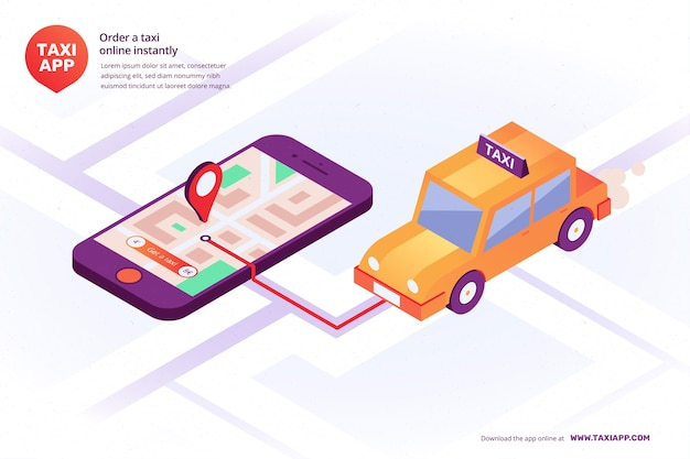 Isometric illustrated taxi app interface