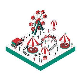 Isometric illustration of attractions park
