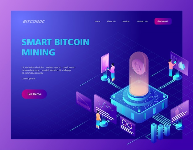 Isometric illustration of bitcoin mining landing page