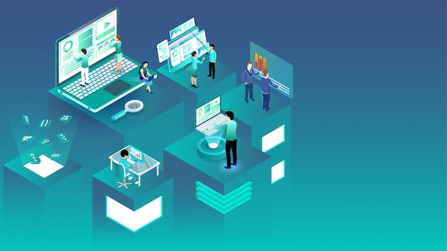 Isometric illustration of business people working on different platforms.