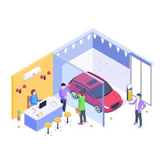 Isometric illustration of a car dealership