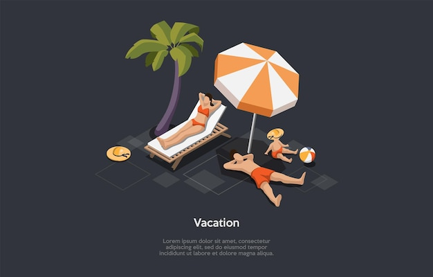 Isometric illustration in cartoon 3d style. vector composition on dark background. vacation concept. summer rest at beach or seaside. family in swimwear spending time together. palm, umbrella, lounger