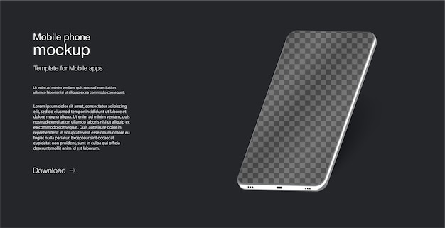 Isometric illustration cell phone. smartphone frame less blank screen, rotated position. smartphone perspective view.