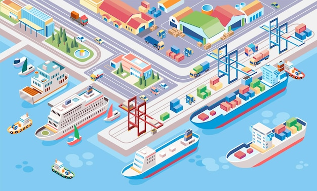 Isometric illustration of central port for cargo ships and cruise ships with multiple ships at anchor and containers ready to be transported