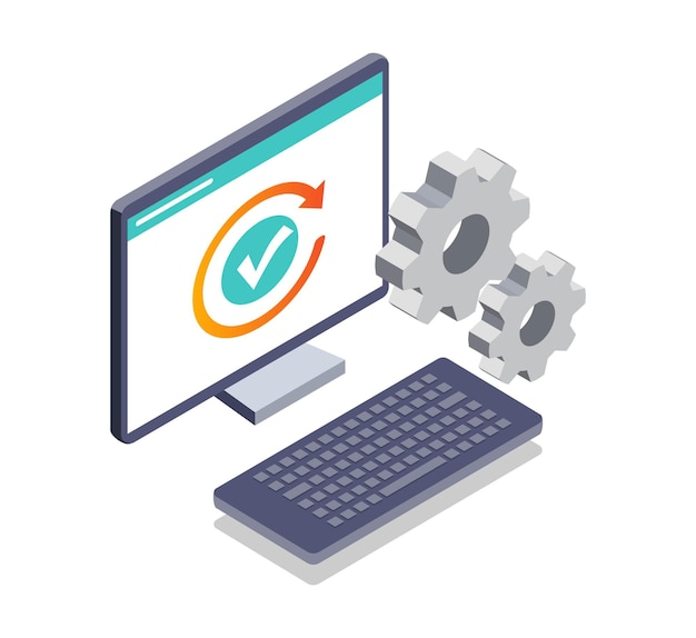 Isometric illustration of computer maintenance system and installation loading