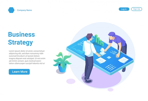 Isometric illustration concept of business strategy