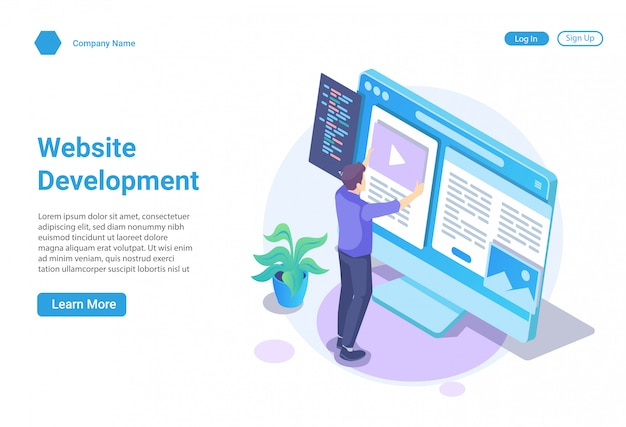 Isometric illustration concept of web development and web design for website and mobile website, landing page template