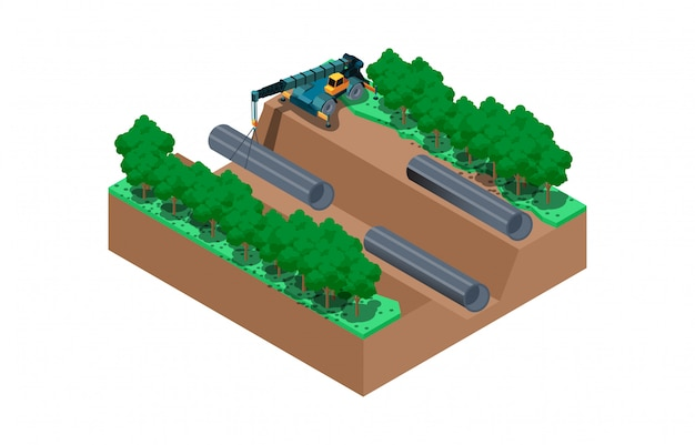 Isometric illustration of the construction process