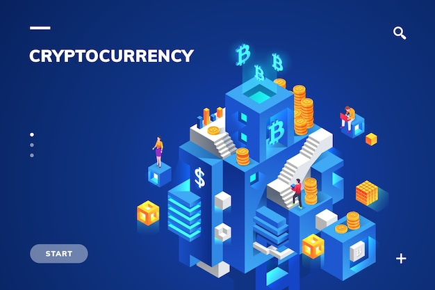 Isometric illustration for cryptocurrency and blockchain technology, crypto money and financial block, digital currency and coin stack.