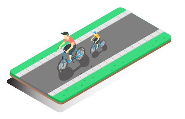 Isometric illustration cycling