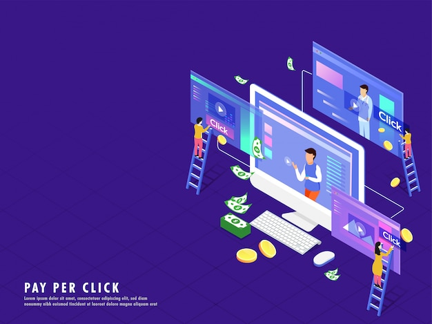 Isometric illustration of desktop with video play screen.