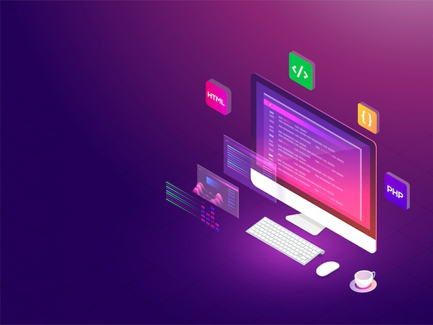Isometric illustration of desktop