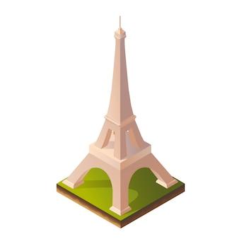 Isometric illustration of eiffel tower