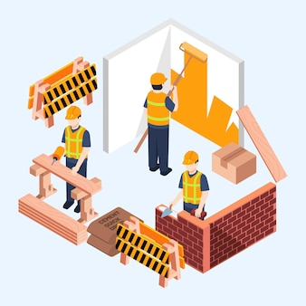 建設に取り組んでいるアイソメトリックイラストエンジニア