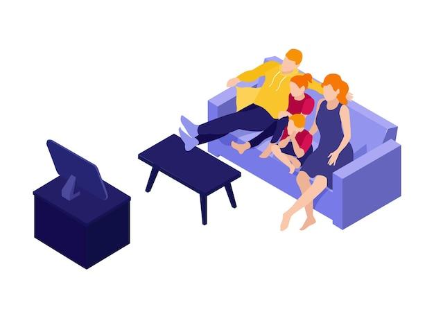 Illustrazione isometrica di una famiglia seduta sul divano a guardare la tv