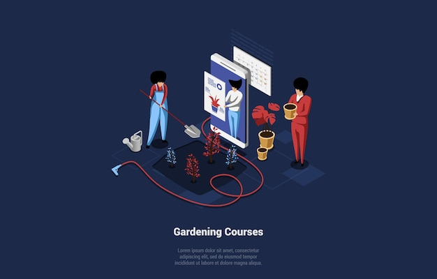 Isometric illustration on gardening courses concept