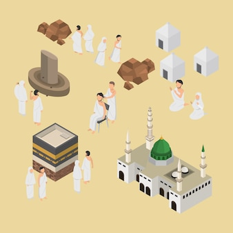 Isometric illustration of hajj muslim pilgrimage on 3d vector infographic