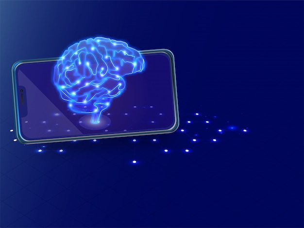 Isometric illustration of human brain with digital connection on