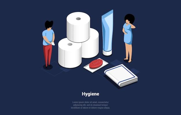 Isometric illustration of hygiene concept.