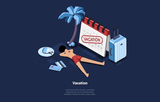 Изометрическая иллюстрация в мультяшном 3d стиле на синем темноте человека, загорающего в отпуске