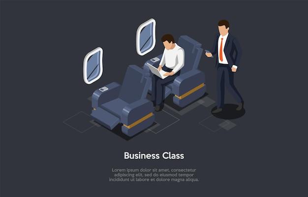 漫画の3dスタイルの等角投影図。暗い背景のベクトル構成。ビジネスクラスの飛行機旅行のコンセプト。飛行機の内側、2人のキャラクター。ビジネススーツを着ている乗客。居心地の良い椅子