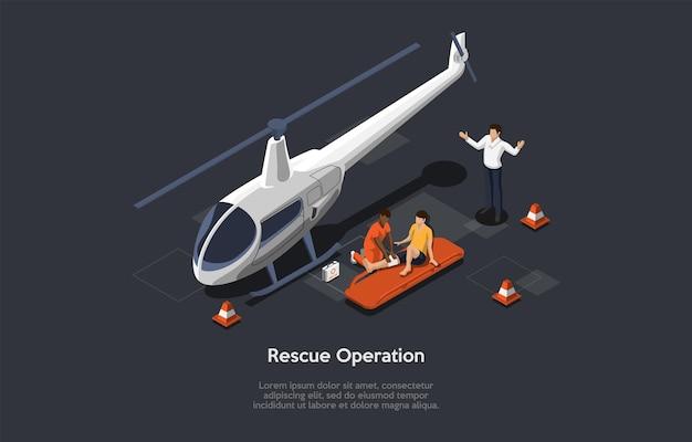 만화 3d 스타일의 아이소 메트릭 그림. 어두운 배경에 벡터 구성입니다. 구조 작업 개념입니다. 세 캐릭터. 헬리콥터, 응급 처치 키트 및 인포 그래픽 개체. 의료진, 환자