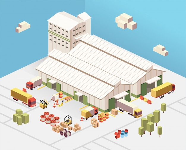 Isometric illustration of industrial factory and warehouse logistic building