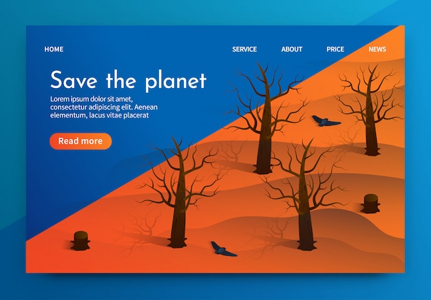 Isometric illustration is written save the planet