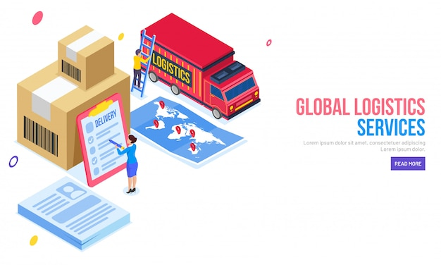 Isometric illustration of lady checking all delivery package
