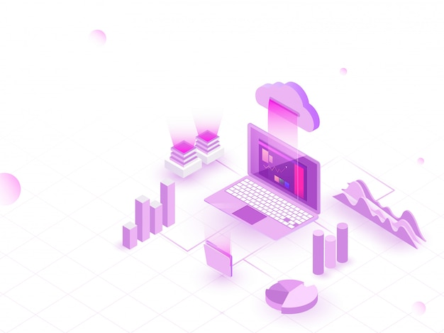 Isometric illustration of laptop connected to cloud.
