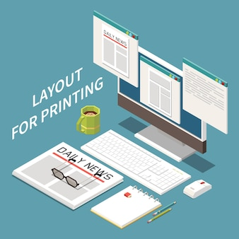 Isometric illustration of layout for printing with newspaper and computer