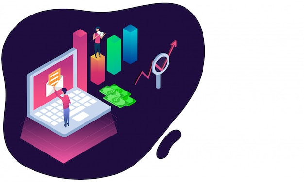 Isometric illustration of man checkout mail in laptop.