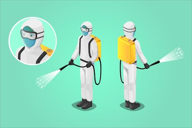 Изометрическая иллюстрация, медицинский персонал распыляет дезинфицирующее средство, борется с вирусом