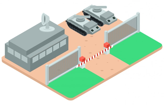 Isometric illustration of military protection