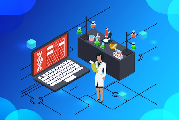 Isometric illustration modern medical science labs