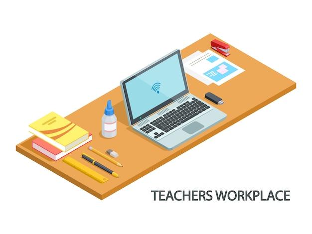 Isometric illustration of modern teachers workplace isometric vector design