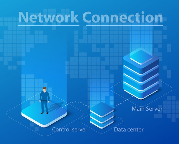 Isometric illustration of network technology
