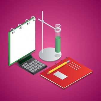 Isometric illustration of notebook with lab clamp stand, calculator and pencil