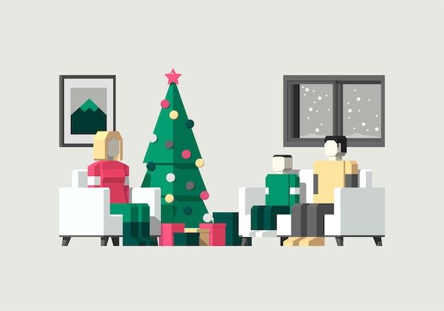 家でクリスマスを祝う家族の等角図