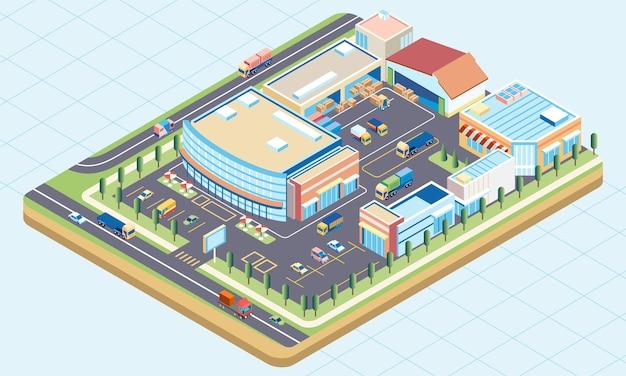 Изометрическая иллюстрация комплекса зданий торгового центра со складом для хранения товаров и погрузочно-разгрузочных работ