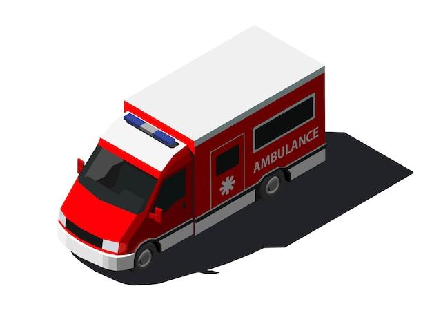 Изометрическая иллюстрация машины скорой помощи в красном цвете.