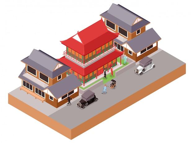 거리에 클래식 자동차와 중국 전통 클래식 사원 건물과 생활 집의 아이소 메트릭 그림